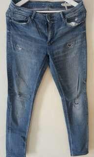 jeans ZARA ukuran 42 ripped tambal