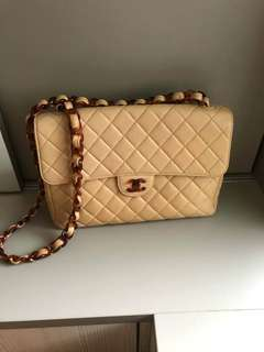 Vintage Chanel奶茶色羊皮玳瑁jumbo flap bag 30x20x8cm