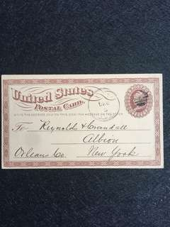 US 1875 1c Brown Liberty Large Watermark, Cork Killer, Marion Iowa to Albion New York