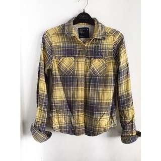Flannel denim polo long sleeves