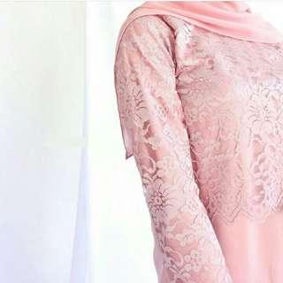 REAL PICT gaun Plain Dress Brokat mix Velvet