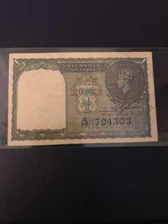 1940 British India One Rupee Note