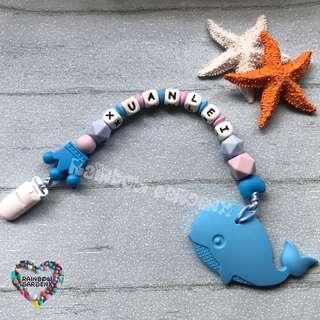 Handmade Customized Pacifier Clip with letter beads + blue whale Teether