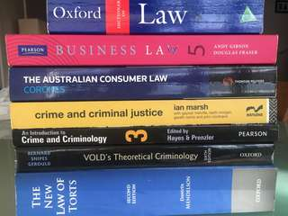 Various Crime and Law Textbooks