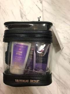 Victoria secret body wash, perfume, body cream set.