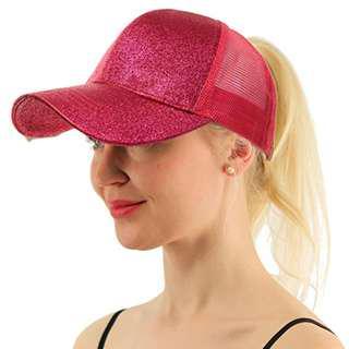 ★Baseball Cap★Ponytail Adjustable Snapback-Rose Pink