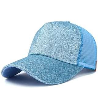 ★Baseball Cap★Ponytail Adjustable Snapback-Blue
