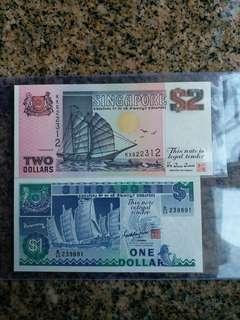 新加坡錢幣2張,unc