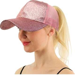 ★Baseball Cap★Ponytail Adjustable Snapback-Pink