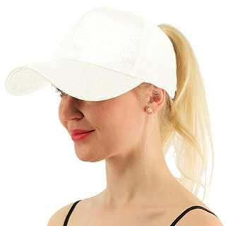 ★Baseball Cap★Ponytail Adjustable Snapback-White