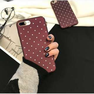 Maroon Polka dots Phone Case