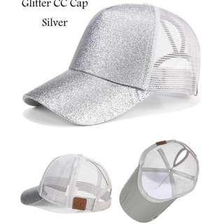 ★Baseball Cap★Ponytail Adjustable Snapback-Silver