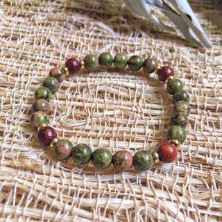 🚚 🇲🇽Unakite bracelet 墨西哥尤納克石花崗石手鍊
