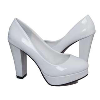 White Chunky Platform Heels