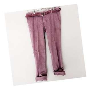 Pink corduroy include belt