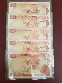 Orchid $10 (Singapore 1st Series)