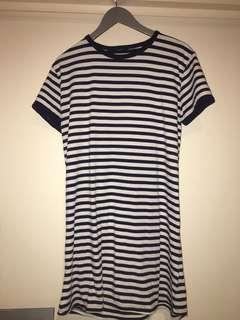 Navy blue striped T-shirt dress