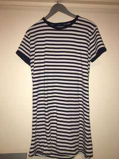 Navy blue striped T-shirt dress
