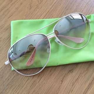 🚚 漸層色墨鏡 淺米色鏡框