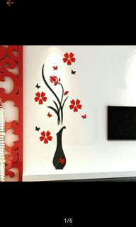 DIY Vase Flower Tree Crystal Arcylic 3D Wall Stickers Decal Wall Decor