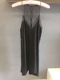 Black silky dress with lace detail