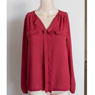 Long sleeved burgundy maroon red work blouse 6-8