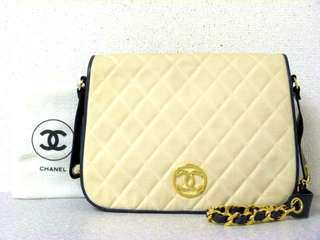 Vintage Chanel海軍藍羊皮x帆布圓圈金扣chain bag 30x22x6cm