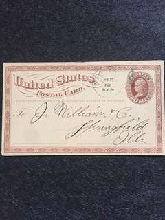 US 1873 1c Brown Liberty Large Watermark, Cork Killer, New York to Springfield Illinois, Ninth National Bank