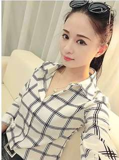 Female long sleeve chiffon formal shirt