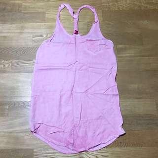 🚚 H&M 手染粉紅長版背心洋裝