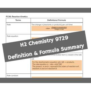 A'Level Chem Summary of Definitions and Formulas