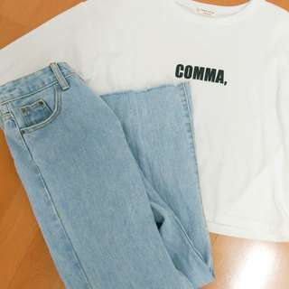 🚚 #極新 原價390 藍色牛仔長褲 寬褲