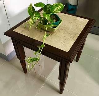 Vintage Marble Top Solid Wood Side / Corner Table