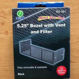 "Lian-Li 5.25"" Black Bezel With Vent and Filter BZ-501 NEW RARE"
