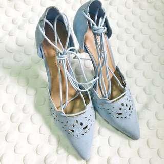 High Heels with straps powder blue