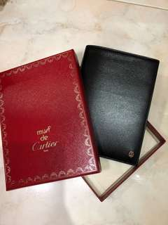 100%New Cartier Passport Wallet-Black with Gold Cartier logo