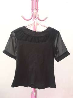 FURING BLACK BLOUSE