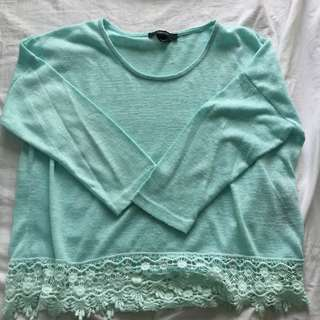 F21 Teal Sweater with Lace Detail