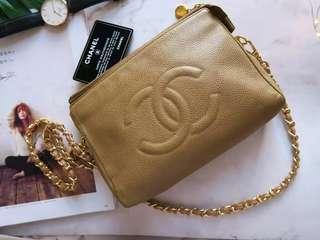 Vintage Chanel 中古杏色荔枝皮斜咩袋