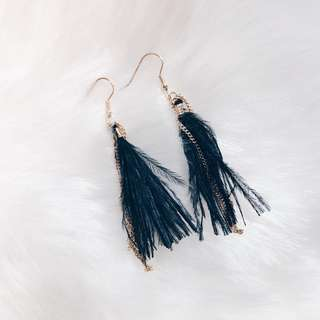 Black Tassel with Chains Earrings