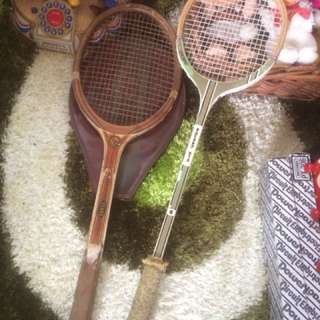 Vintage Wooden Racket Lot Antik