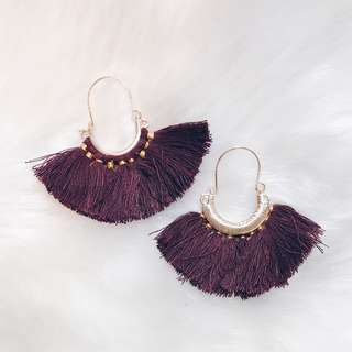 Dark Red Violet Tassels Earrings