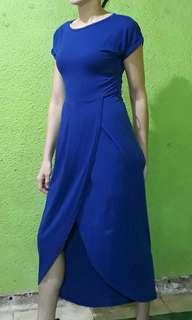 Blue front slit dress