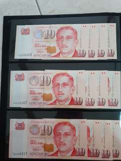 10 dollor note LHL or HTT UNC