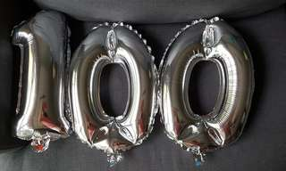 Inflated silver balloons - 100 (32cm)