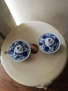Vintage China blue condiment bows (2)