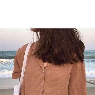 Striped Short Sleeve Blouse