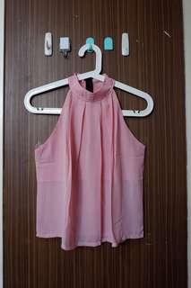 Halter neck pink top