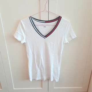 Tommy Hilfiger 白色V領T恤/ Tommy Hilfiger White V Neck T-Shirt