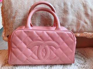 🚚 CHANEL Mini Boston Hand Bag Leather 香奈兒迷你波士頓包 粉紅